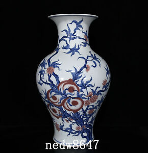 """17.1"""" Old Porcelain qing dynasty qianlong mark red Blue white peach GuanYin Vase"""