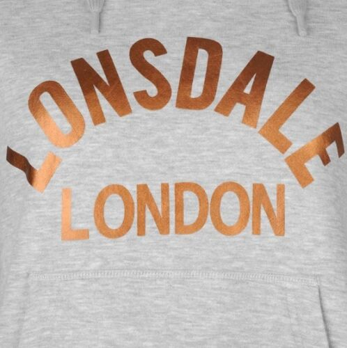 Lonsdale London Women/'s Hoodie Sweater Pullover Grey Gold all Sizes New