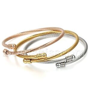 3pcs-Women-039-s-Stainless-Steel-Cable-Wire-Twisted-Cuff-Bangle-Bracelet-Adjustable