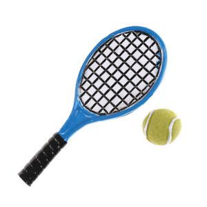 1-12-Miniature-Dollhouse-Accessories-Children-Garden-Tennis-Racket-And-Ball-L