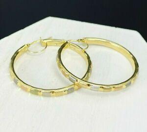 """MILOR 14K Gold Tri-Color 1.50"""" Hoop Earrings F339"""