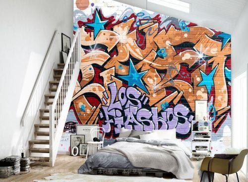 3D Texte Graffiti 5 Photo Papier Peint en Autocollant Murale Plafond Chambre Art