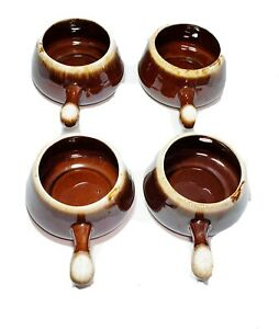 McCoy Soup Chili Bowls With Handles 7054 Brown Drip Glaze Set Of 4 USA Vintage
