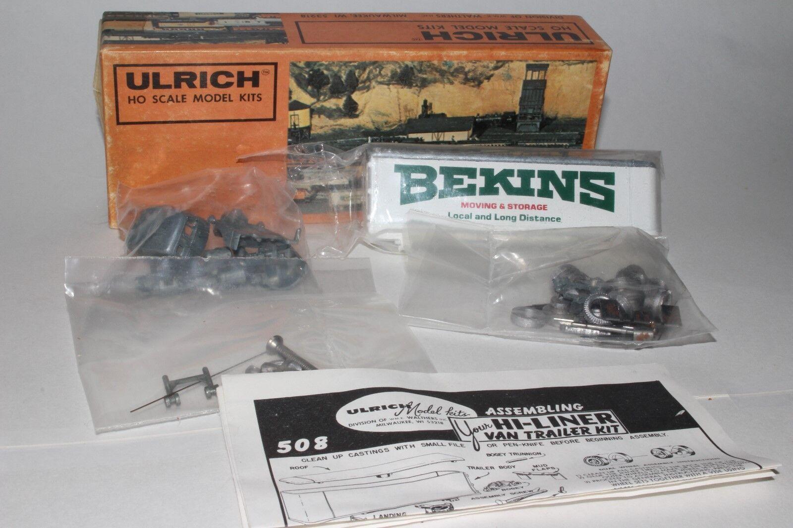 Ulrich Escala Ho Kit de Modelismo, Furgoneta Bekins, con Mack Coe Tractor,