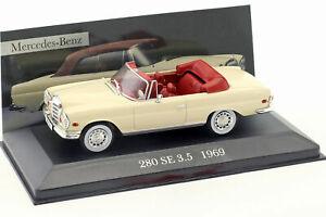 Mercedes-Benz-280-se-W111-3-5L-Cabrio-1969-ano-1-43-escala-Diecast-Modelo-de-Coche
