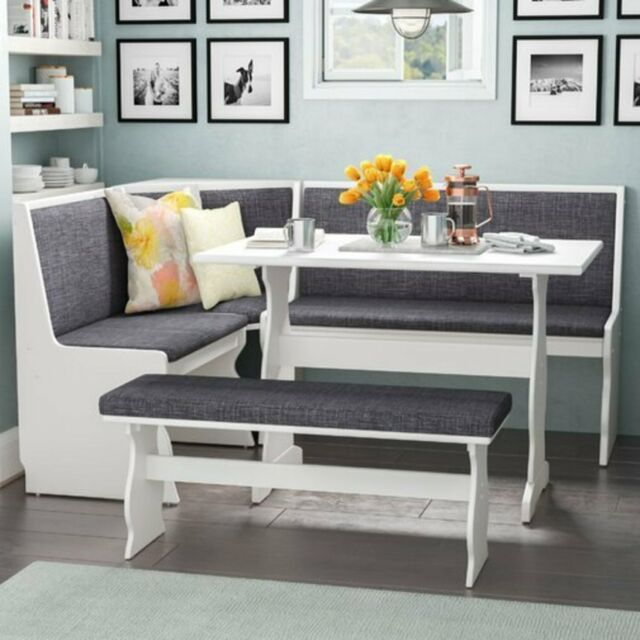 Kitchen Dining Breakfast Nook 3 Pc. Corner Bench Table Gray Padding White  Top