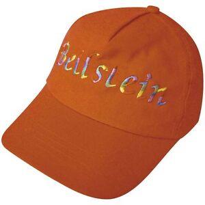 Baseballcap-Casquette-Capuchon-Perfore-Chapeaux-Orange-avec-Baton-Beilslein