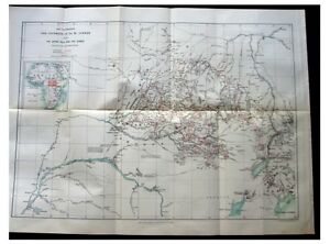 1887-Junker-MAPPING-CONGO-RIVER-Nile-Sources-COLOR-ROUTE-MAP-Africa-7