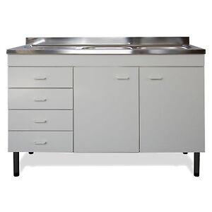 Mobili Cucina Professionale Acciaio.Dettagli Su Mobile Sottolavello Per Cucina Completo Di Lavello In Acciaio Inox E Cassettiera