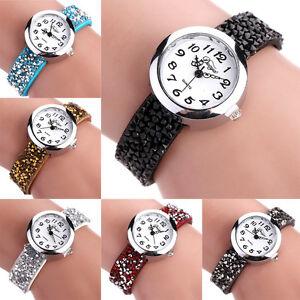 Fashion-Women-Leather-Strap-Crystal-Rhinestone-Stone-Bracelet-Quartz-Wrist-Watch