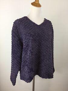 J-Jill-Womens-L-Large-Purple-Blue-Wool-Blend-Textured-Long-Sleeve-Knit-Sweater