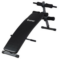 Costway Adjustable Arc-shaped Decline Sit Up Bench Crunch Board Fitness Workout on sale
