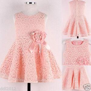 Flower-Kids-Girls-Dress-Baby-Toddler-Lace-Princess-Party-Birthday-Wedding-Dress