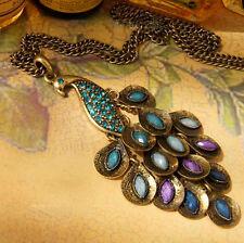 Women Retro Peacock Multi Sequin Long Sweater Chain Necklace Pendant Jewelry