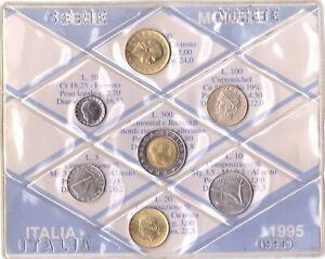 1995 Italia Set Annuale Ridotto 7 Monete Fdc Bu