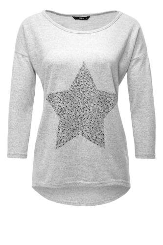 Only Damen Langarmshirt Print Feinstrickpullover Pullover Oversize Shirt Glitter