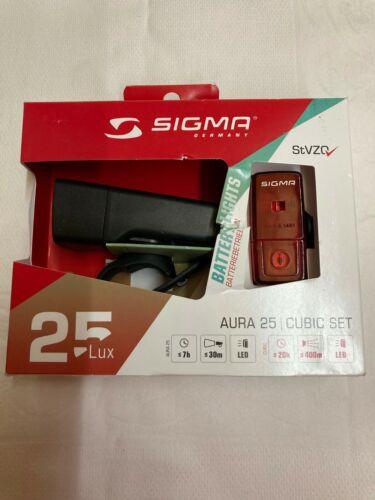 SIGMA Aura 25 /& Cubic Set Fahrrad Licht LED Front Lampe Rücklicht Batterielicht