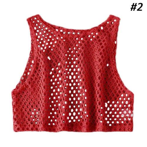Women/'s Clubwear Mesh Fishnet Hollow Crop Top Sleeveless Vest Tank Blouse Vest