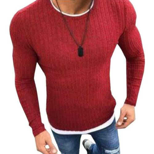 Mens Knitwear Sweater Jumper Pullover Crew Neck Slim Fit Plain Long Sleeve Top