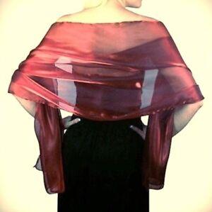 chiffonschal stola schal hochzeit braut abendkleid Überwurf damen bordeaux bordo  ebay