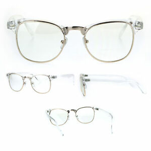 4cfd99d617 Gold Clear Frame Classic Half Rim Hipster Eye Glasses 765095586364 ...