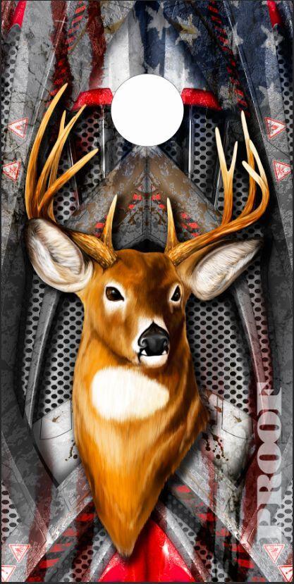American Flag Deer Hunter Armor LAMINATED Cornhole Wrap Bag Toss Skin Decal