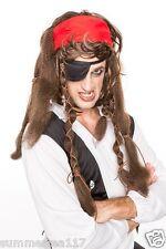 Halloween Caribbean Pirate Captain Jack Sparrow Black Long Wig Men/ Women H0126