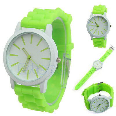 New Arrival Geneva Silicone Band Quartz Analog Dial Cute Sports Wrist Watch