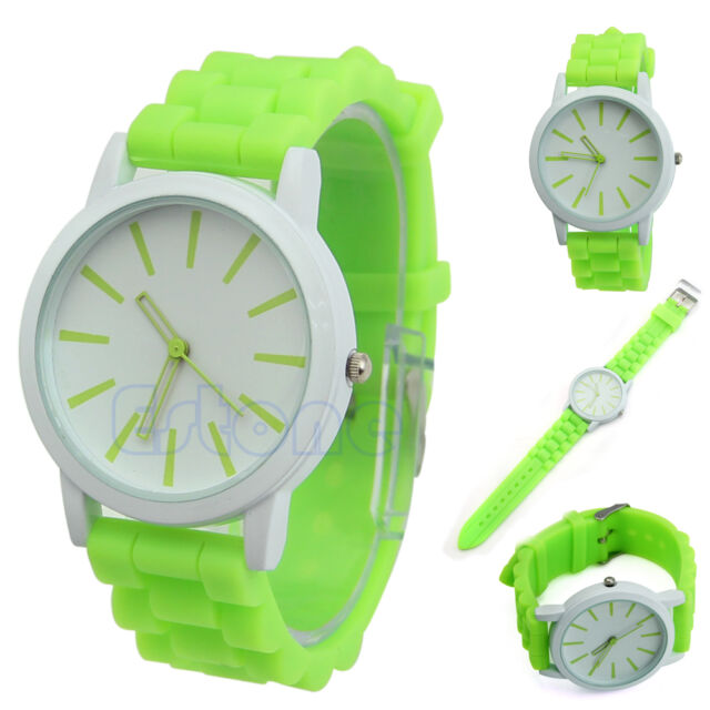 Womens Delicate Geneva Silicone Rubber Jelly Gel Analog Sports Wrist Watches