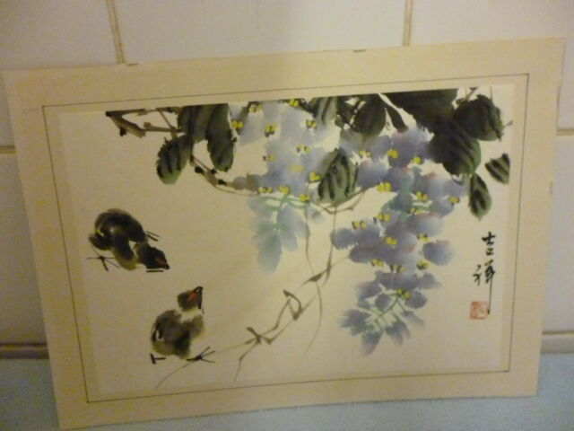 Signed  Vintage Chinese Painting Of  Chicks in folage