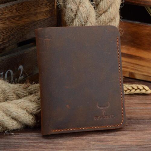 Real Cow Leather Men Wallet Credit Card Genuine Id Holder Black Slim Hide Vintag