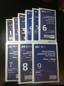 PCCB / MINGT OPP Plastic Banknote Sleeves Bag, size 1 - 9 (Set of 9 sizes)