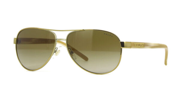 7327089148d8 Ralph by Ralph Lauren Gold and Cream Aviator Sunglasses 4004 101-13 BRAND  NEW