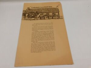 Vintage 1980's Colonel Crawford Inn Restaurant Menu
