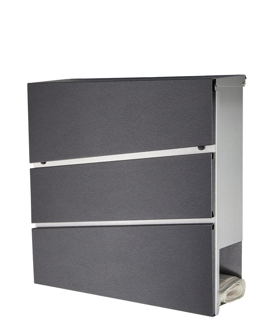 Designer Briefkasten Edelstahl Mod.333DA / diamant-anthrazit / mit Zeitungsfach