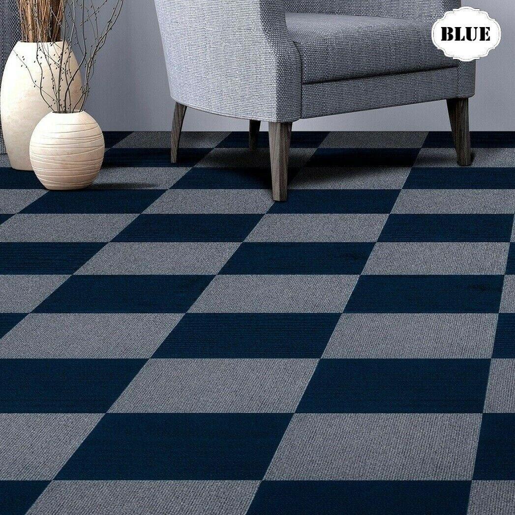Carpet Tiles Peel And Stick Self Adhesive Blue Squares Mat Basement Flooring For Sale Online