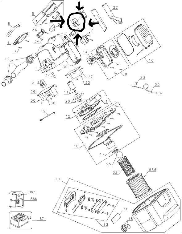 5140017 08 Dewalt Belt Hook Dc500 Type 1 Vacuum