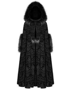 Punk-Rave-Womens-Gothic-Hooded-Cloak-Coat-Black-Velvet-Steampunk-Damask-Faux-Fur