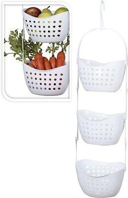 3 Tier Hanging Basket Storage Kitchen Fruit Vegetable Bathroom Shower Solution