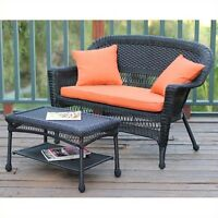 Jeco Wicker Patio Love Seat And Coffee Table Set In Black With Orange Cushion on sale