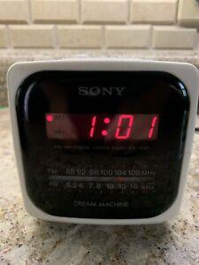 VTG Sony Dream Machine AMFM Clock Radio Alarm Red LED White Cube ICF-C121 Retro