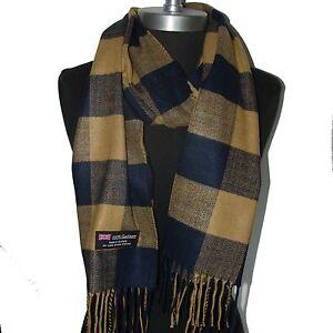 100-Cashmere-Scarf-Dark-Blue-Camel-Check-Plaid-Wool-Soft-Men-Women-Wrap-C5k04