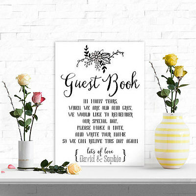 Personalised A4 Wedding Guest Book Sign Vintage Eco Card BUY 2 GET 1 FREE (M)