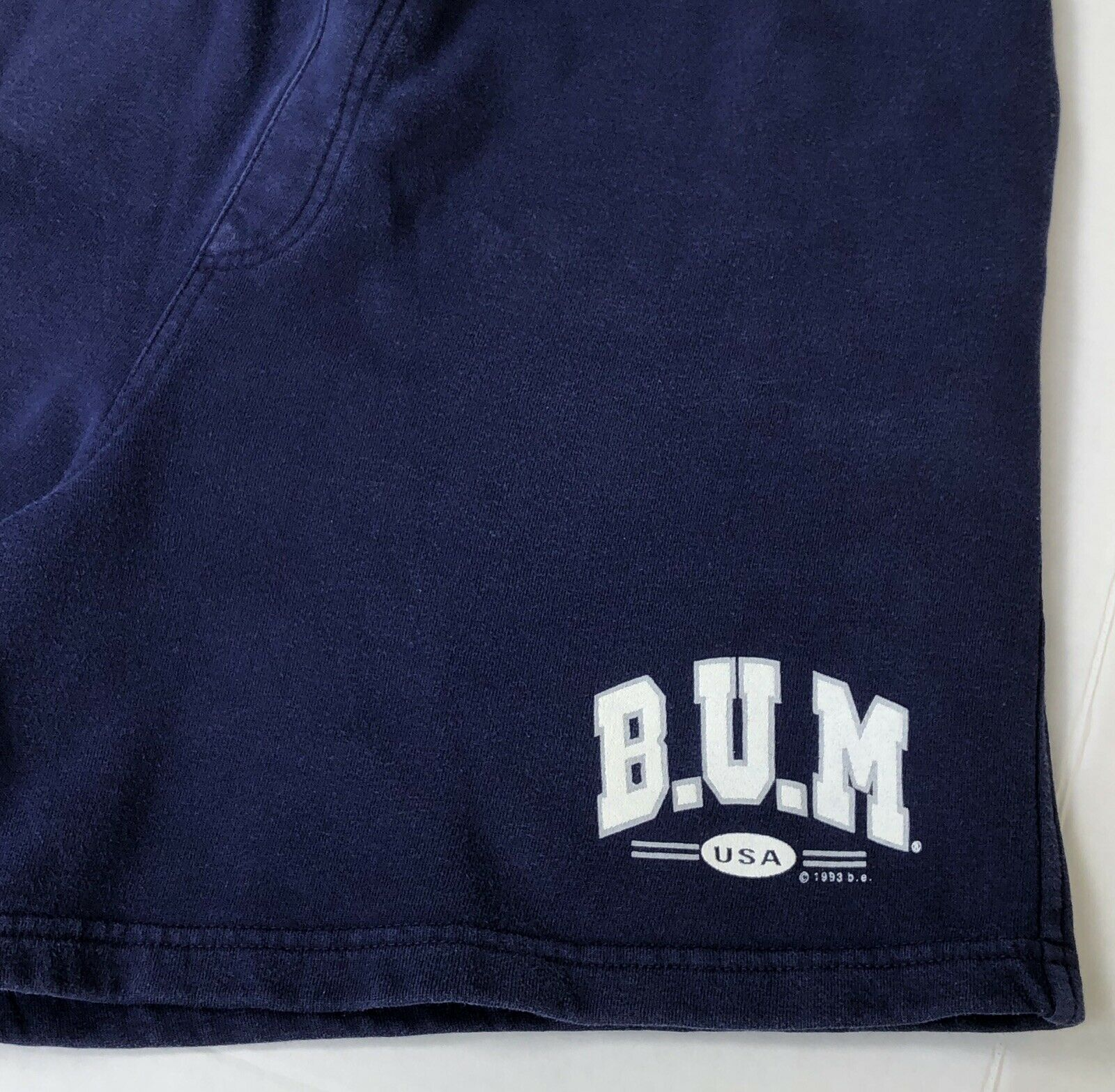 Vintage 90s B.U.M. Equipment Shorts navy blue Swe… - image 5