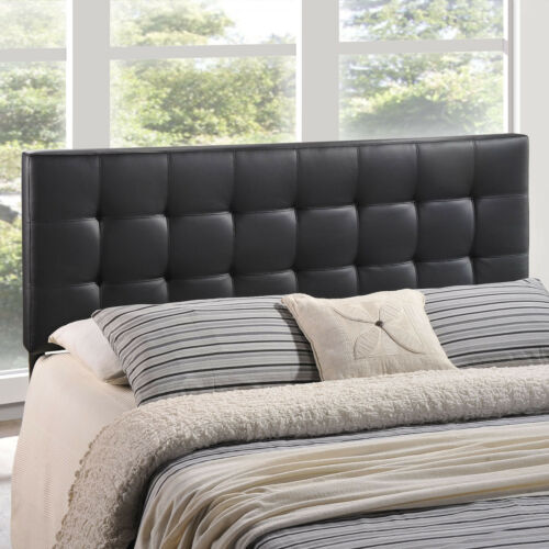 Tufted Upholstered Faux Leather Square Queen Size Headboard in Black