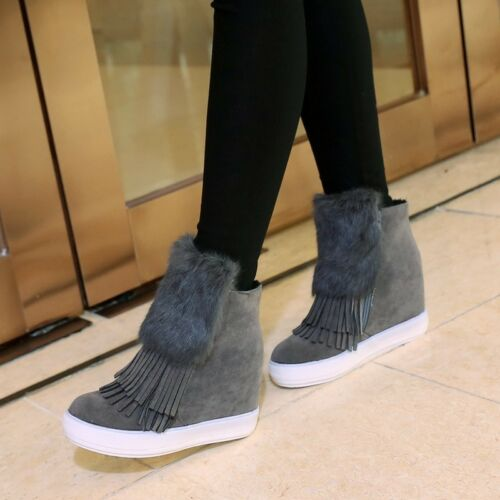 stivaletti scarpe sportive donna zeppa 7.5 cm grigio pelle sintetica comode 8725