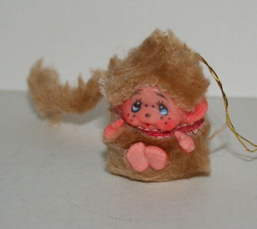 Korea 1970s New NOS Vintage Small furry Tan Monchhichi Doll