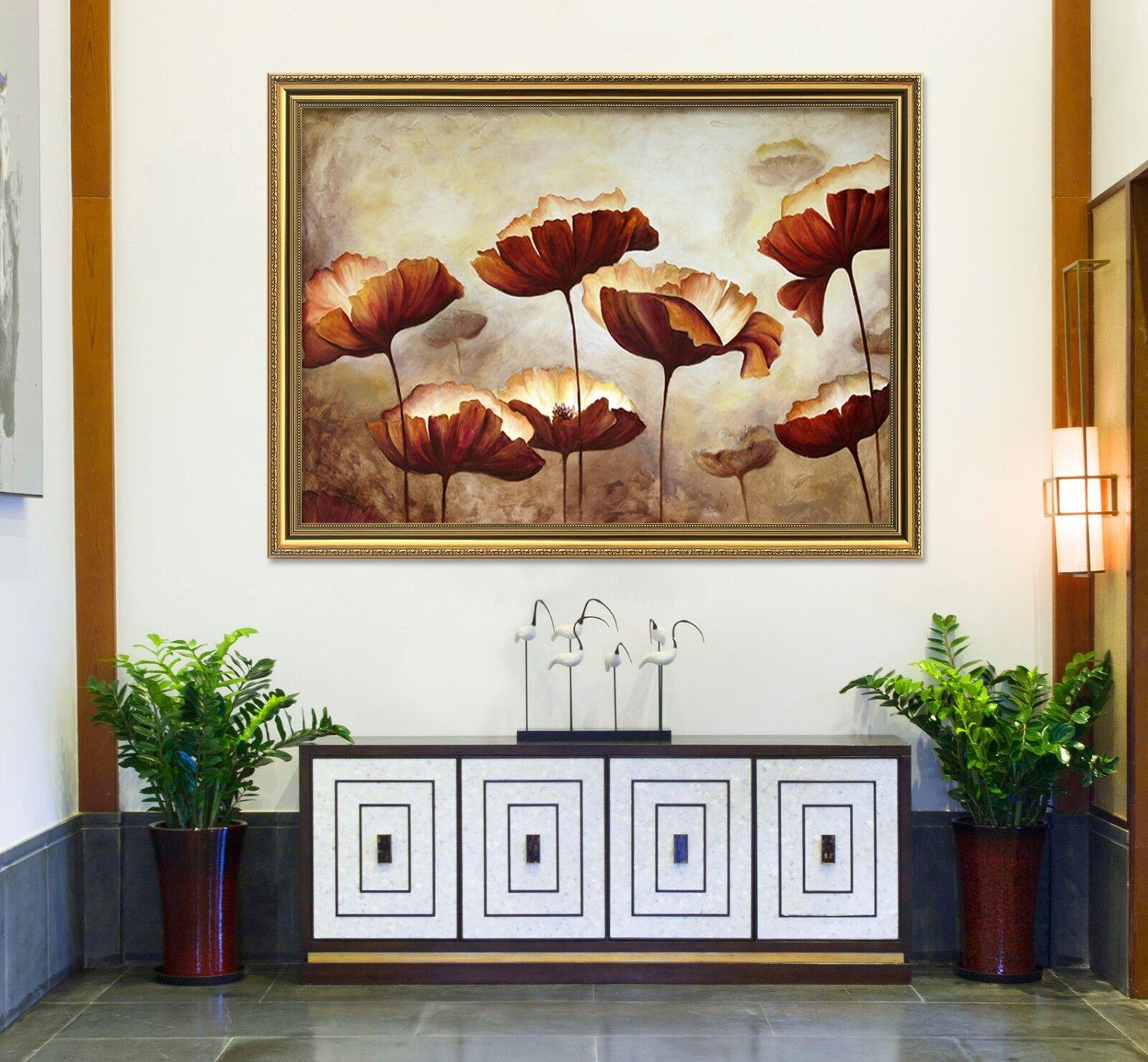 3D Póster Enmarcado 2 hoja de loto nostálgico Decoración del Hogar Pintura de impresión AJ Wallpaper