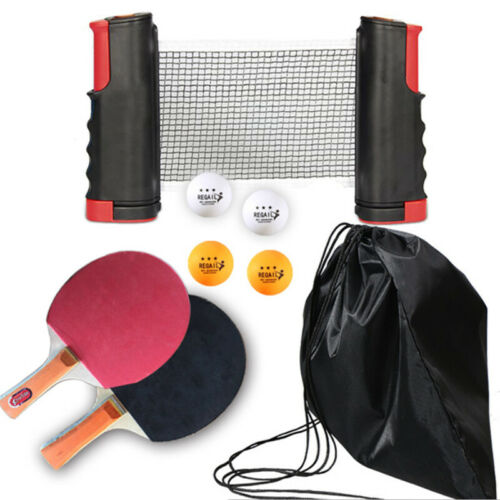 Table Tennis Net and Post Sets with Mini Posts Portable Bats Balls Extendable UK