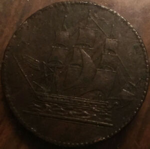 PEI-CANADA-SHIPS-COLONIES-AND-COMMERCE-HALFPENNY-TOKEN-LEES-2-5-D-SHC-5-USA-FLAG